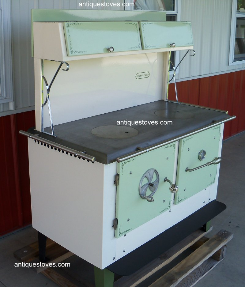Grean and Cream Kitchen Queen Wood Cook Stove